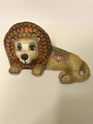Vintage Mexican Folk Art Paper Mache Lion Artist Signed Mexico
