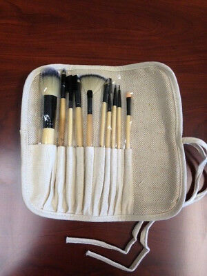 10pc Synthetic Bamboo Cosmetic Makeup Brush set in roll-up pouch FantaSea FSC666