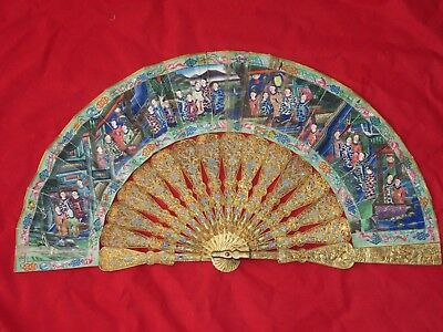 Antique Chinese Gilt Filigree, Enameled Fan 1850