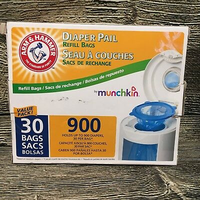 Arm & Hammer Diaper Pail Refill Bags by Munchkin 30 bags Holds up to 900 diapers