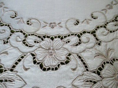 """ANTIQUE TABLECLOTH MADEIRA HAND EMBROIDERY-50""""sq.BEAUTIFUL"""