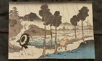 Old Japanese Woodblock Print on Rice Paper Rain in Fields Toyokuni
