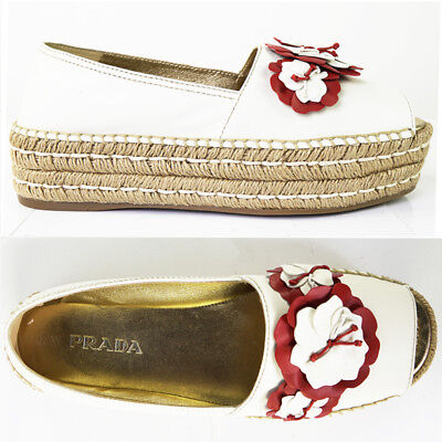 84935f3a19f 39.5 US 9 NEW  690 PRADA White Leather RED FLORAL Open Toe PLATFORM  ESPADRILLE