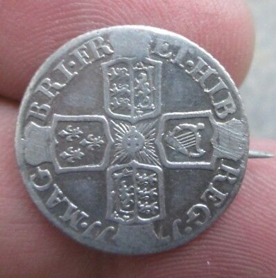 17?? Great Britain Silver Six Pence Coin Pin No Reserve