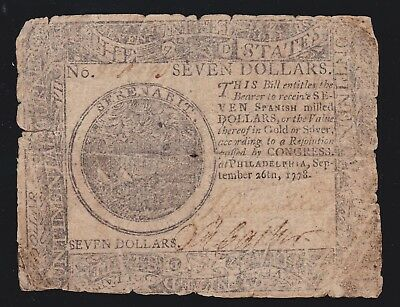 US 1778 $7 Continental Currency Note Dated Sept-26th-1778 FR CC-80 Fine