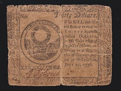 US 1776 $30 Continental Currency Note Dated 7/22/1776 FR CC-46 Fine