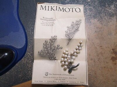 Vintage Sterling Silver Pin Branch Mikimoto .25 High Grade Pearls