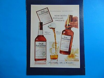 1960 OLD FORESTER BOURBON 100 proof and 86 proof print ad