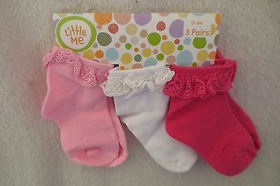 Little Me 3 Pair Infant Baby Girl  Socks Pink size 0-6 Months New
