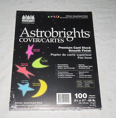 Astrobrights Premium Card Stock 100 Sheets - 5-Colour Assortment Pack
