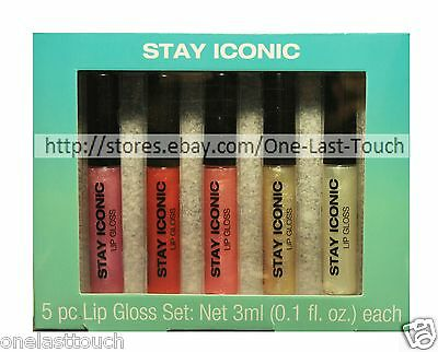 MIND+BODY+SOUL* 5pc Lip Gloss Set STAY ICONIC Liquid+Shimmer HOLIDAY Great Gift