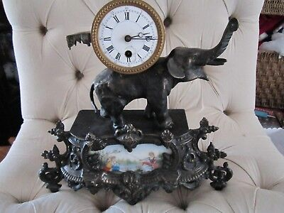 ANTIQUE 1870,s FRENCH HEAVY FIGURAL MANTLE CLOCK OF ELEPHANT &TILE PAINTING NICE