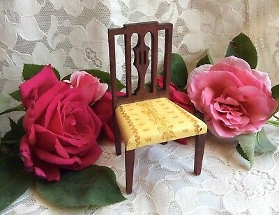 Antique Miniature TynieToy Dollhouse Yellow Sheraton Side Chair Mahogany Stain