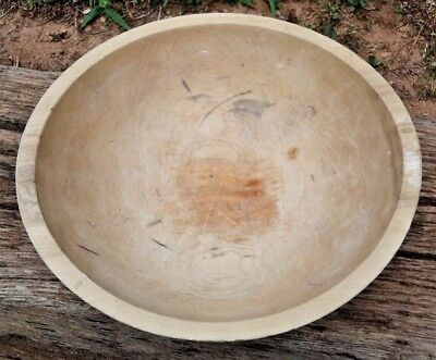 "Vintage MUNISING Carved Wood Out of Round Wooden 11 1/4"" DOUGH BOWL Signed NR"