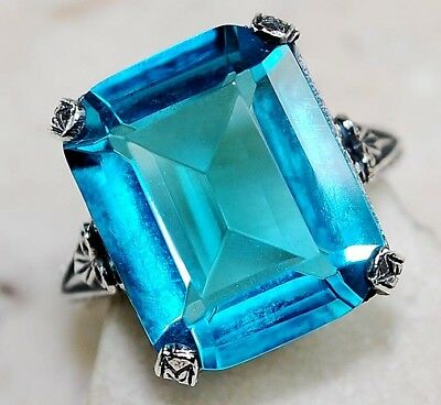 8CT London Blue Topaz 925 Solid Sterling Silver Filigree Ring Jewelry Sz 6