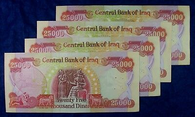 Iraq Banknotes 25,000 Dinars Currency - 4 Notes