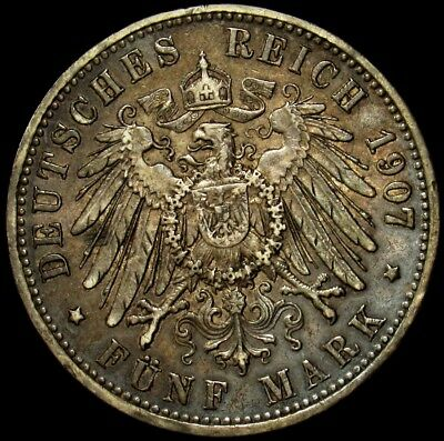 1907 Prussia Silver 5 Mark -KM# 523 PG 880- ASW 0.8037 - Nicely Toned