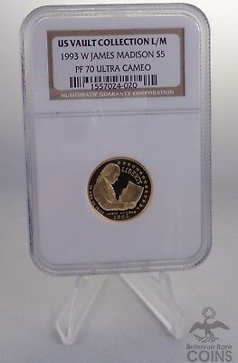 US Vault Collection 1993 $5 Gold Commemorative James Madison NGC PF70 Ult Cameo