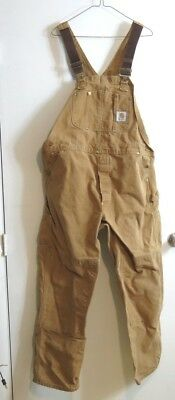 Carhartt Bib Overall Work Brown Jeans Mens Size 40X32 Double Knee Nice Condition