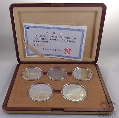 Seoul, Korea - 10th Asian Games 1986 Commemorative Five Coin Set OGP