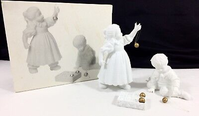 Dept 56 Winter Silhouette Hanging The Ornaments 77933 Porcelain Girl Boy 3 pc