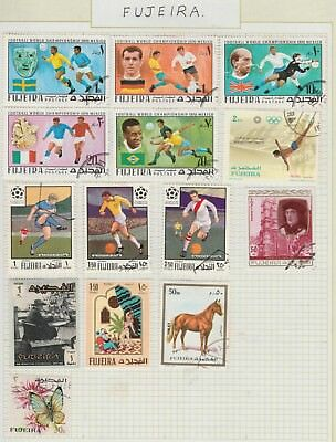 FUJEIRA Churchill, Horse Butterfly Soccer etc on Old Book PagesUSED #