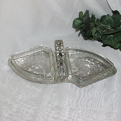 Vintage Aluminum Snack Tray Relish Dish Glass Insert Handle Tulips Mid-Century