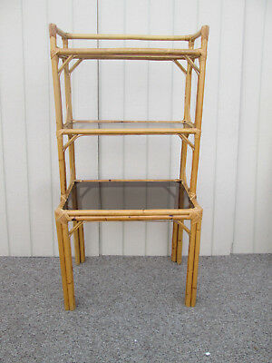 59037   RATTAN BAMBOO Desk With Curio Bookcase Top Modern Rustic