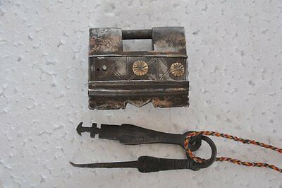 Old Iron Handcrafted Unique Shape 2 Key Tricky Puzzle Padlock
