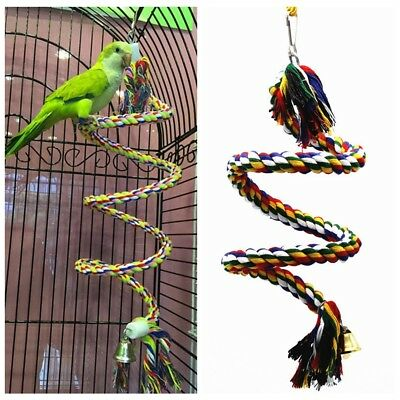 Bird Perch Toy Parrot Cotton Rope Chewing Bar Cage Stand Spiral W Bell Hi-Q 0.5M