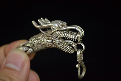 chinese Culture decorate Exquisite myth dragon Head Theme men old rare Bracelet
