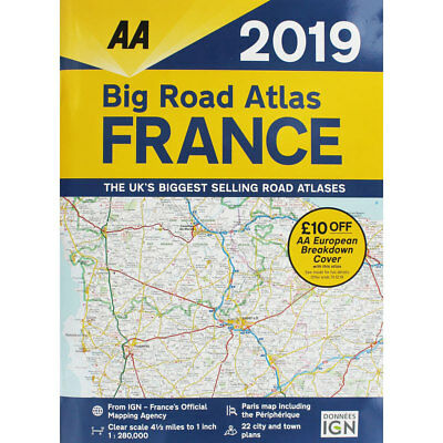 AA 2019 Big Road Atlas France by AA (Paperback), Non Fiction Books, Brand New