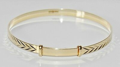 NEW Solid 9ct Gold Patterned Expanding Baby Bangle ~ UK Hallmarked