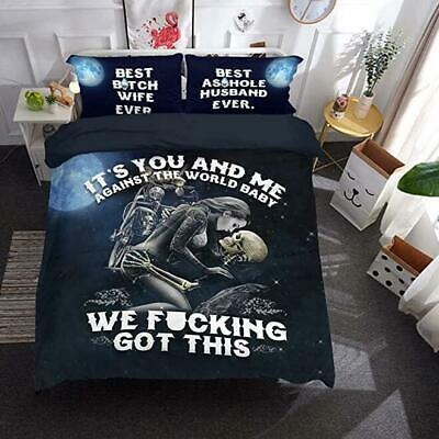Skull Gothic Quilt Doona Duvet Cover Set Ghost Single Queen King Size Bed Linen