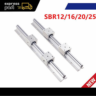 SBR12/16/20/25 1500mm Long Linear Rail Slide Shaft Rod & 4pcs Bearing Block