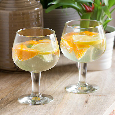 Set of 2 Large 650ml Gin & Tonic Balloon Glasses Cocktail Wine Prosecco Party