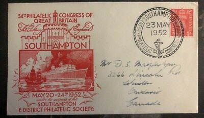 1952 Southampton England First Day Cover FDC Philatelic Congress To Ont Canada