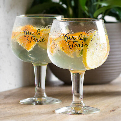 Set of 2 Large 650ml Decorated Gin Balloon Tonic Cocktail Glasses Wine Gift