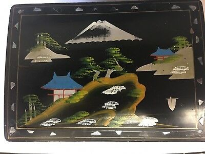 Black  Chinese/Japanese painted musical box