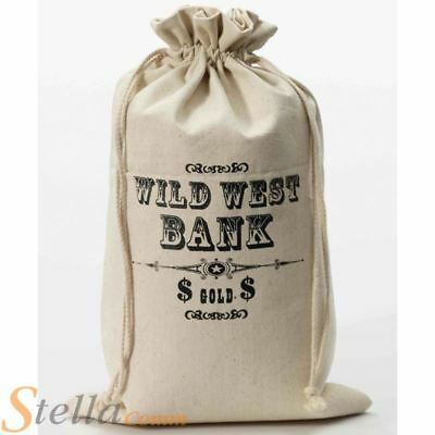 Wild West Money Bag Fancy Dress Costume Accessory Cowboy Western Bank Robber