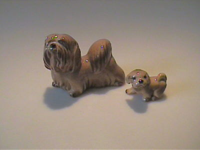 Vintage Miniature Hagen Renaker Lhasa Apso Dog And Puppy  🐶