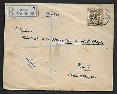 Palestine 1921 Austria Two Piasters With Tri Lingual Ovpt S.g. 53 On Registered