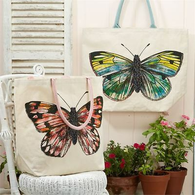 Canvas Beaded Butterfly Jute Tote Reusable Beach Shopping Bag - Colour Varies