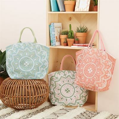Canvas Mandala Design Jute Tote Reusable Beach Shopping Bag - Design Varies