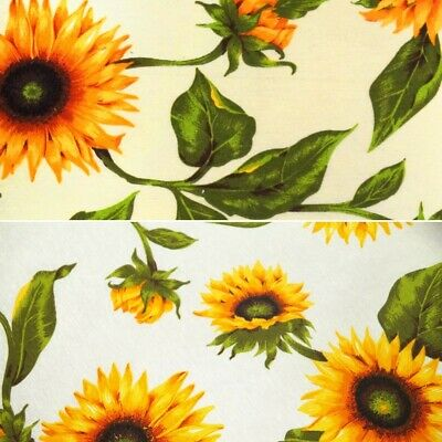 Cotton Linen Look Fabric Sunflower Flower Floral Upholstery Cushion 135cm Wide