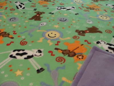 Fleece Sewn Blanket/reversible-Nursery Rhymes Themed-New-Hand Made