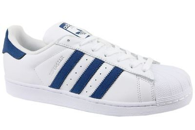 Adidas Originals Mens Superstar Trainers White Navy Sizes 8 To 11.5 Rrp £75