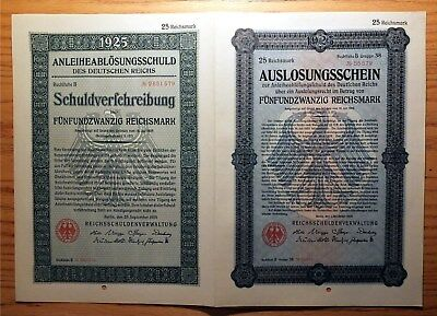 Weimar Germany, 1925 Replacement 'double Bond' - 25 Reichsmark Nice Xf/au   Hnt