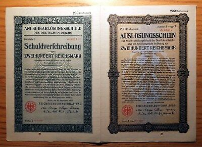 Weimar Germany, 1925 Replacement 'double Bond' - 200 Reichsmark Nice Xf/au   Hng