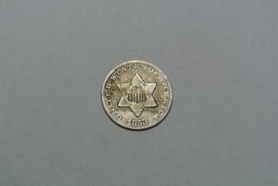 VG Condition Silver 1853 Three 3 Cent U.S. Coin - C5679A